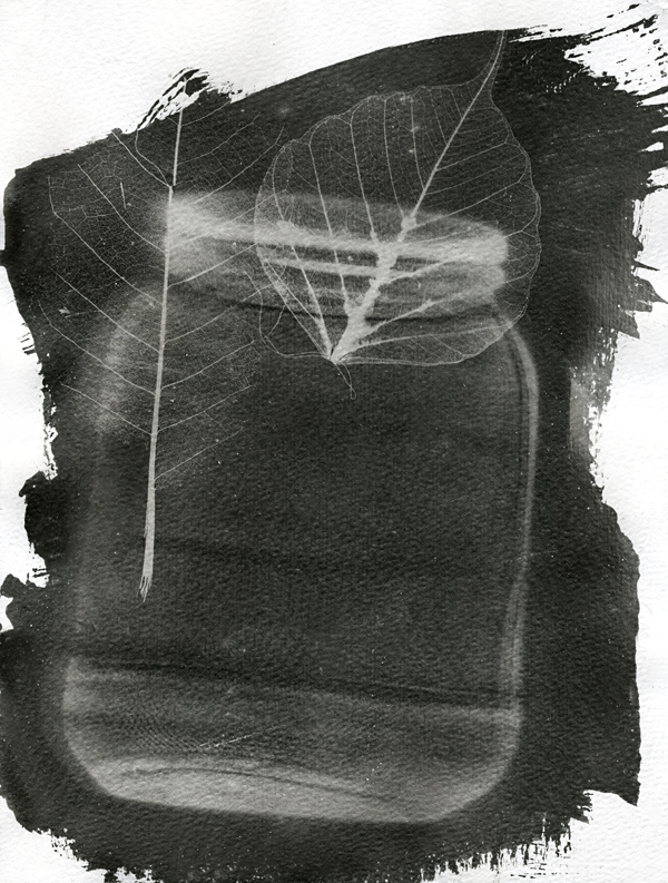 untitled, photogram, black and white photoemulsion on Tintoreto textured paper, 2011